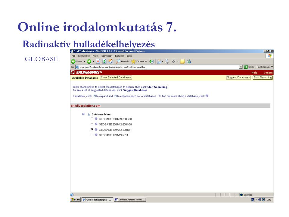 Online irodalomkutatás 7. GEOBASE Radioaktív hulladékelhelyezés