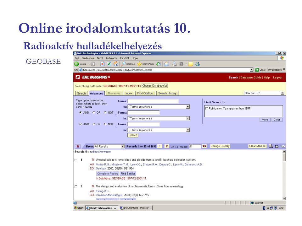 Online irodalomkutatás 10. GEOBASE Radioaktív hulladékelhelyezés