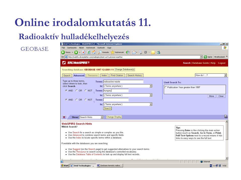 Online irodalomkutatás 11. GEOBASE Radioaktív hulladékelhelyezés