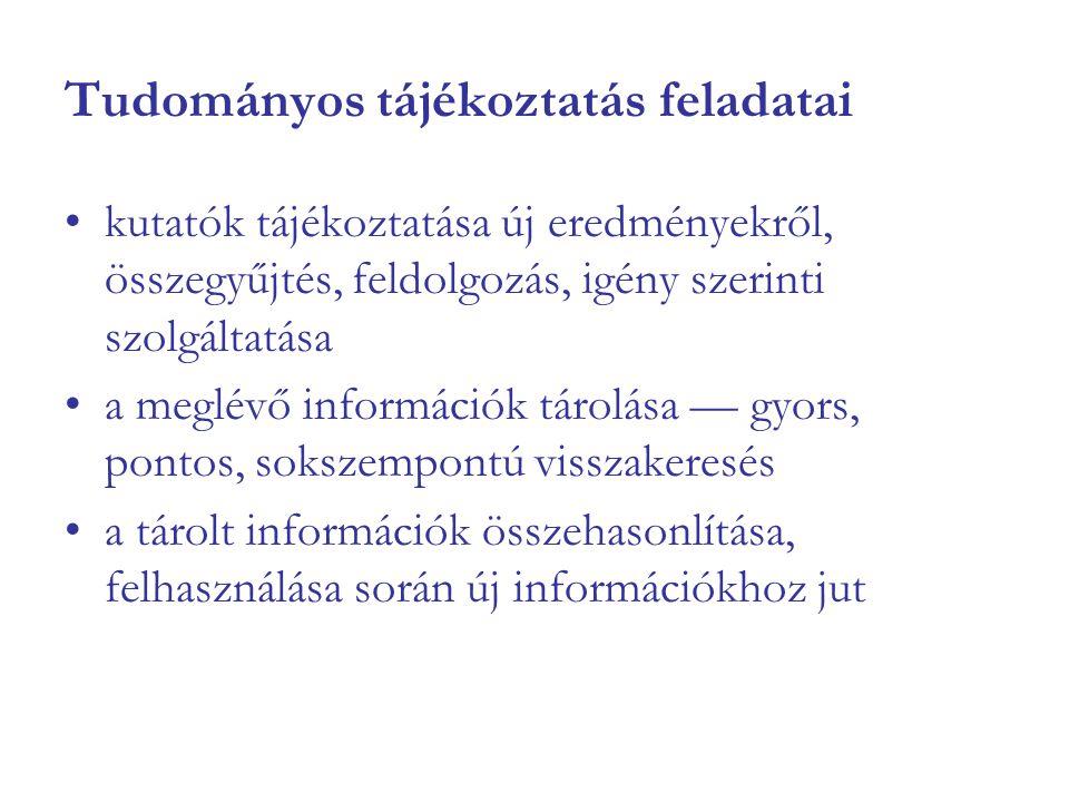 Tudományos tájékoztatás feladatai kutatók tájékoztatása új eredményekről, összegyűjtés, feldolgozás, igény szerinti szolgáltatása a meglévő információ