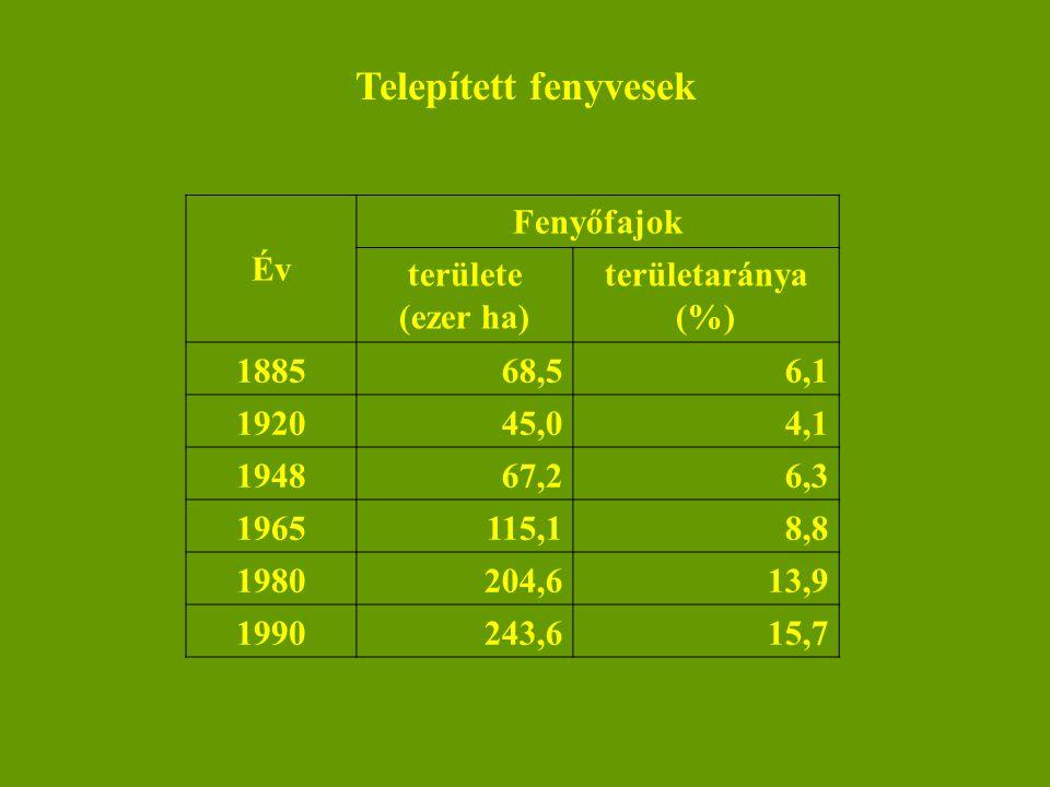 Nemes nyárak Év A nemes nyárak területe (ezer ha) területaránya (%) 196215,51,7 196869,65,3 1973128,79,4 1980126,28,6 1985117,57,9 1990111,07,1