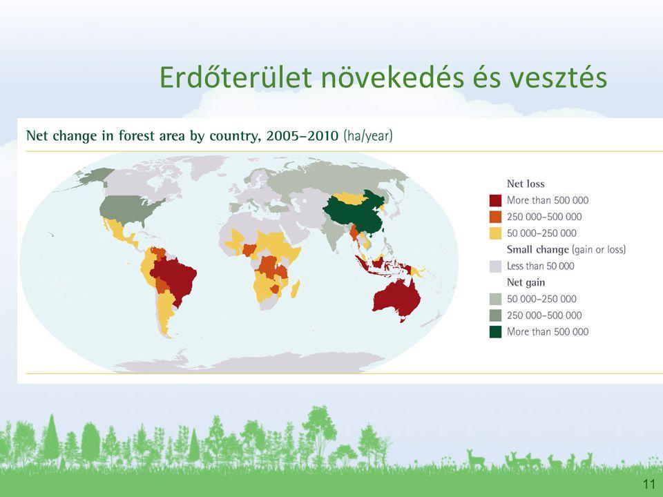 11 Erdőterület növekedés és vesztés