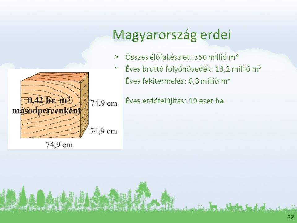 22 Magyarország erdei > Összes élőfakészlet: 356 millió m 3 > Éves bruttó folyónövedék: 13,2 millió m 3 > Éves fakitermelés: 6,8 millió m 3 > Éves erd