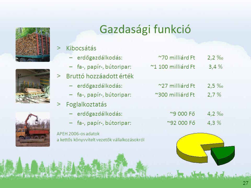 27 Gazdasági funkció > Kibocsátás –erdőgazdálkodás: ~70 milliárd Ft2,2 ‰ –fa-, papír-, bútoripar: ~1 100 milliárd Ft 3,4 % > Bruttó hozzáadott érték –