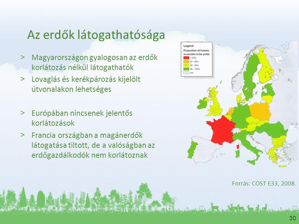30 Az erdők látogathatósága > Magyarországon gyalogosan az erdők korlátozás nélkül látogathatók > Lovaglás és kerékpározás kijelölt útvonalakon lehets