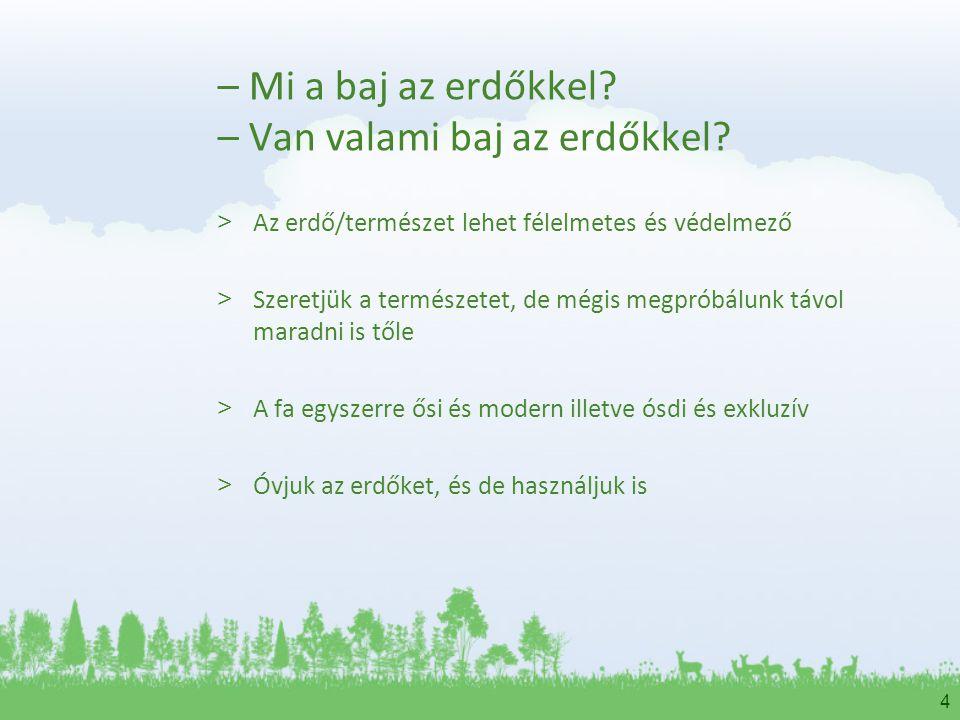 4 – Mi a baj az erdőkkel? – Van valami baj az erdőkkel? > Az erdő/természet lehet félelmetes és védelmező > Szeretjük a természetet, de mégis megpróbá