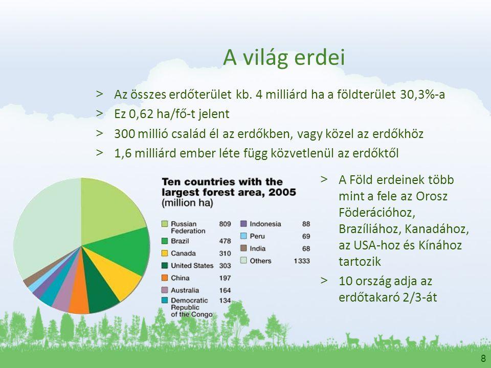 8 A világ erdei > Az összes erdőterület kb. 4 milliárd ha a földterület 30,3%-a > Ez 0,62 ha/fő-t jelent > 300 millió család él az erdőkben, vagy köze