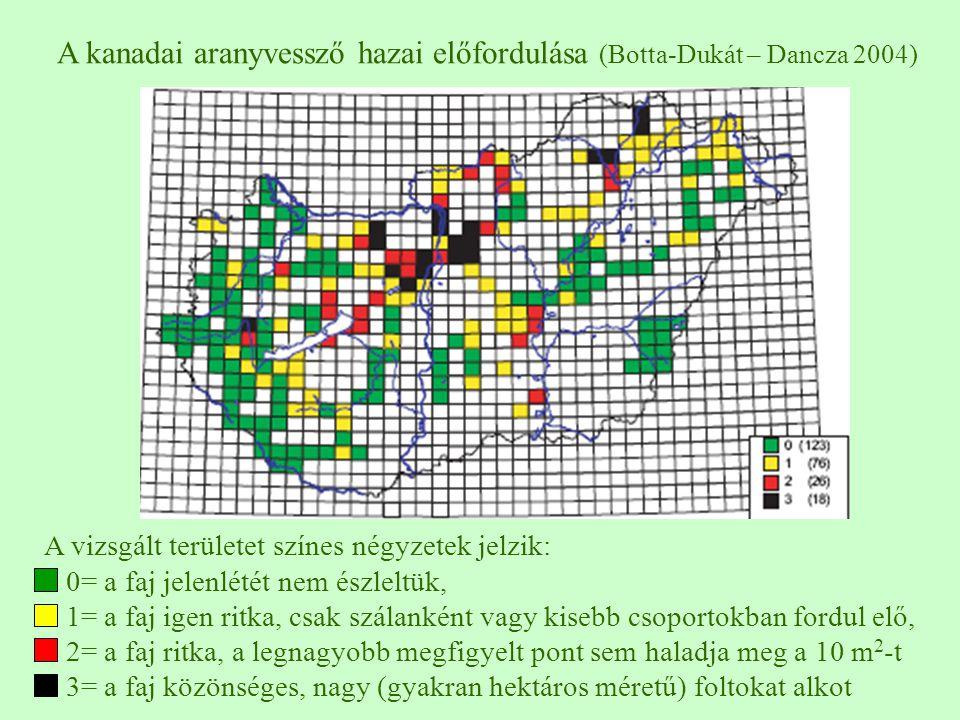 A vizsgált területet színes négyzetek jelzik: 0= a faj jelenlétét nem észleltük, 1= a faj igen ritka, csak szálanként vagy kisebb csoportokban fordul