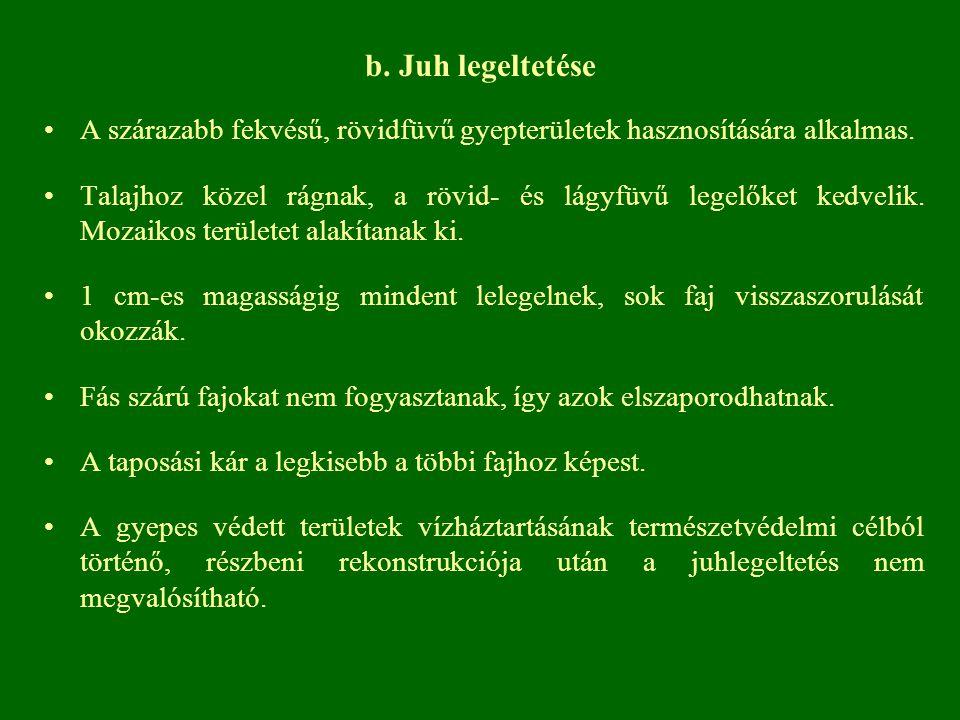 b. Juh legeltetése A szárazabb fekvésű, rövidfüvű gyepterületek hasznosítására alkalmas. Talajhoz közel rágnak, a rövid- és lágyfüvű legelőket kedveli