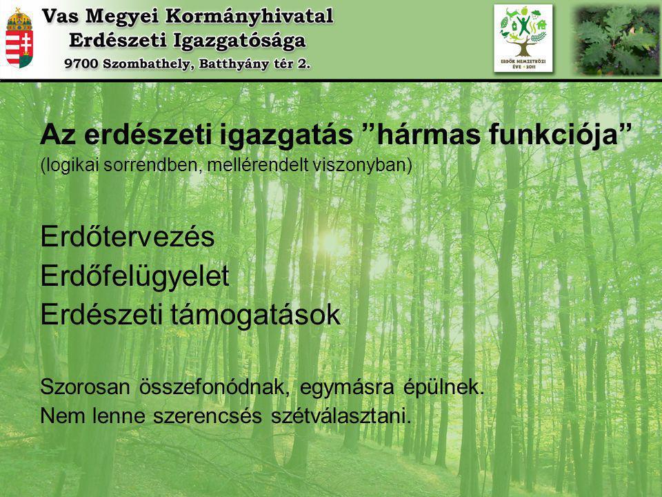 Az erdészeti igazgatás hármas funkciója (logikai sorrendben, mellérendelt viszonyban) Erdőtervezés Erdőfelügyelet Erdészeti támogatások Szorosan összefonódnak, egymásra épülnek.