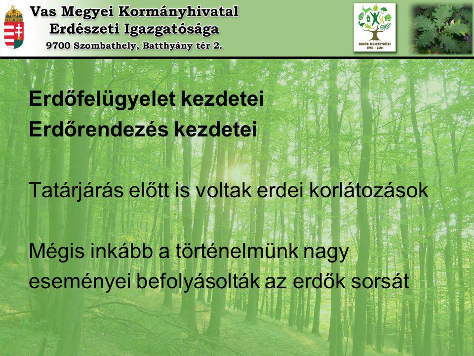 Erdőfelügyelet kezdetei Erdőrendezés kezdetei Tatárjárás előtt is voltak erdei korlátozások Mégis inkább a történelmünk nagy eseményei befolyásolták az erdők sorsát