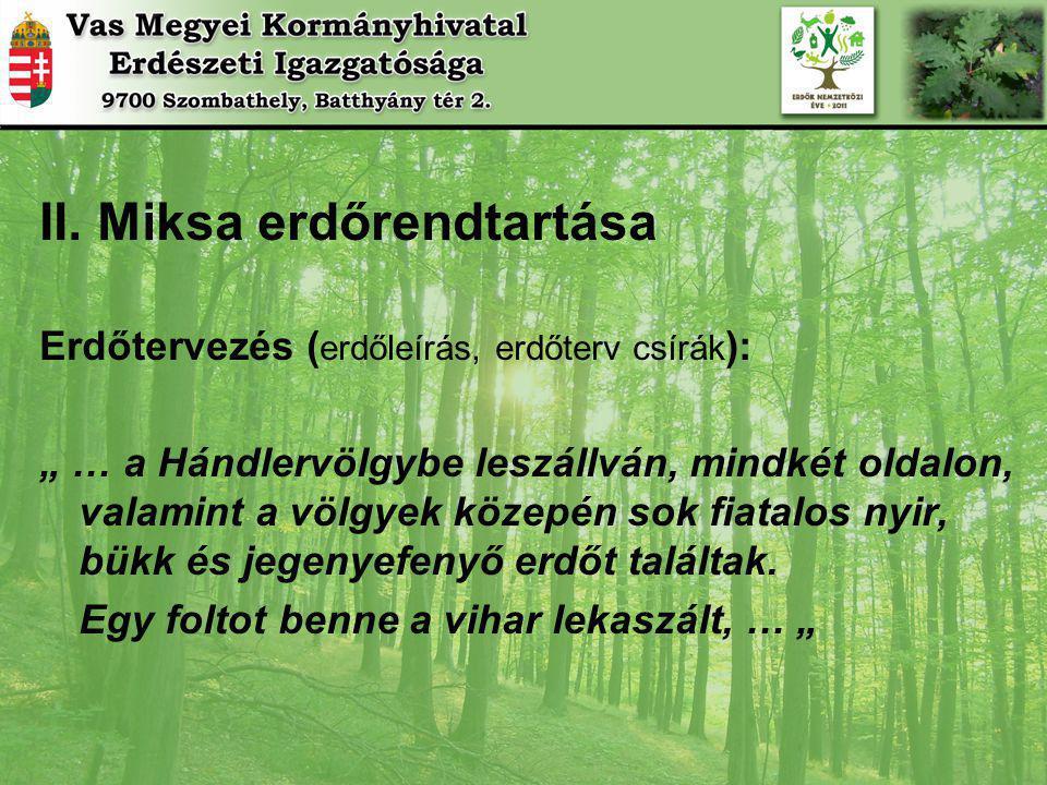 """II. Miksa erdőrendtartása Erdőtervezés ( erdőleírás, erdőterv csírák ): """" … a Hándlervölgybe leszállván, mindkét oldalon, valamint a völgyek közepén s"""