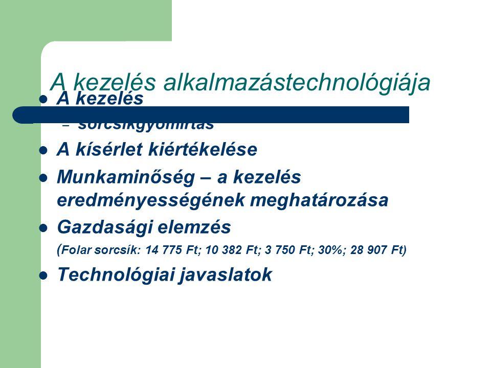 A kezelés alkalmazástechnológiája A kezelés – sorcsíkgyomirtás A kísérlet kiértékelése Munkaminőség – a kezelés eredményességének meghatározása Gazdasági elemzés ( Folar sorcsík: 14 775 Ft; 10 382 Ft; 3 750 Ft; 30%; 28 907 Ft) Technológiai javaslatok