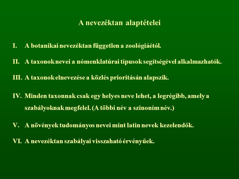 A nevezéktan alaptételei I.A botanikai nevezéktan független a zoológiáétól. II.A taxonok nevei a nómenklatúrai típusok segítségével alkalmazhatók. III