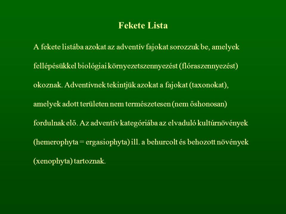 Fekete Lista A fekete listába azokat az adventív fajokat sorozzuk be, amelyek fellépésükkel biológiai környezetszennyezést (flóraszennyezést) okoznak.