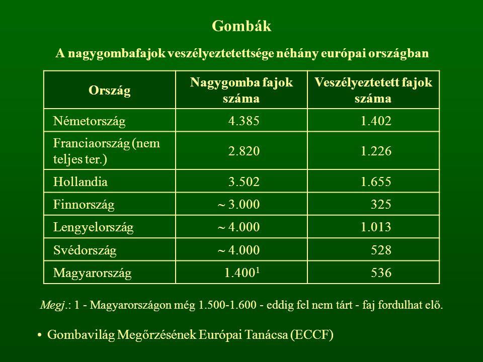 Gombák A nagygombafajok veszélyeztetettsége néhány európai országban Ország Nagygomba fajok száma Veszélyeztetett fajok száma Németország4.3851.402 Fr
