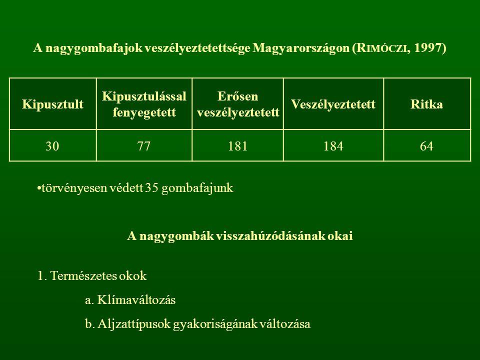 A nagygombafajok veszélyeztetettsége Magyarországon (R IMÓCZI, 1997) Kipusztult Kipusztulással fenyegetett Erősen veszélyeztetett VeszélyeztetettRitka