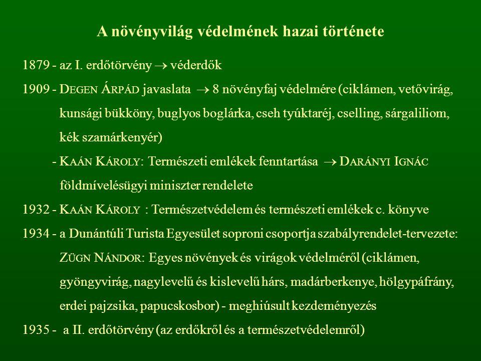 Kipusztult KipusztulássalAktuálisanPotenciálisan Összesen veszélyeztetett Mohák4323945120 Harasztok31061837 Nyitvatermők---22 Zárvatermők44105156421726 Összesen51147201486885 A magyarországi flóra veszélyeztetettsége (2007)
