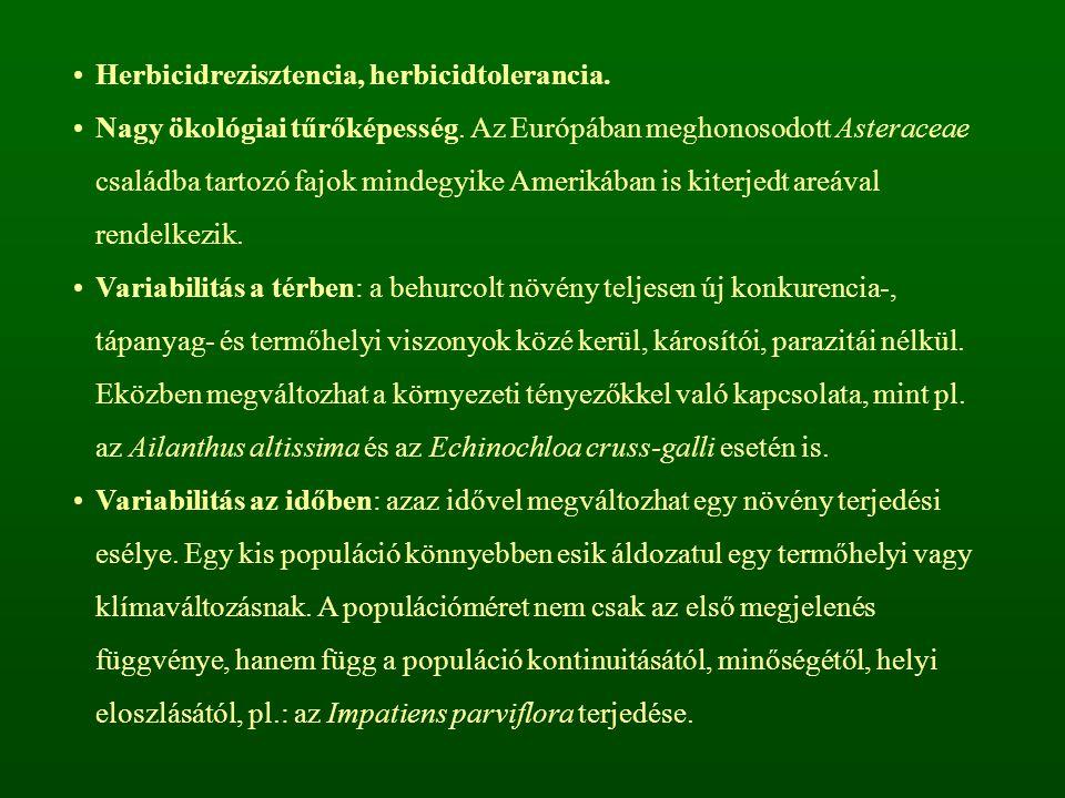 Herbicidrezisztencia, herbicidtolerancia. Nagy ökológiai tűrőképesség. Az Európában meghonosodott Asteraceae családba tartozó fajok mindegyike Ameriká