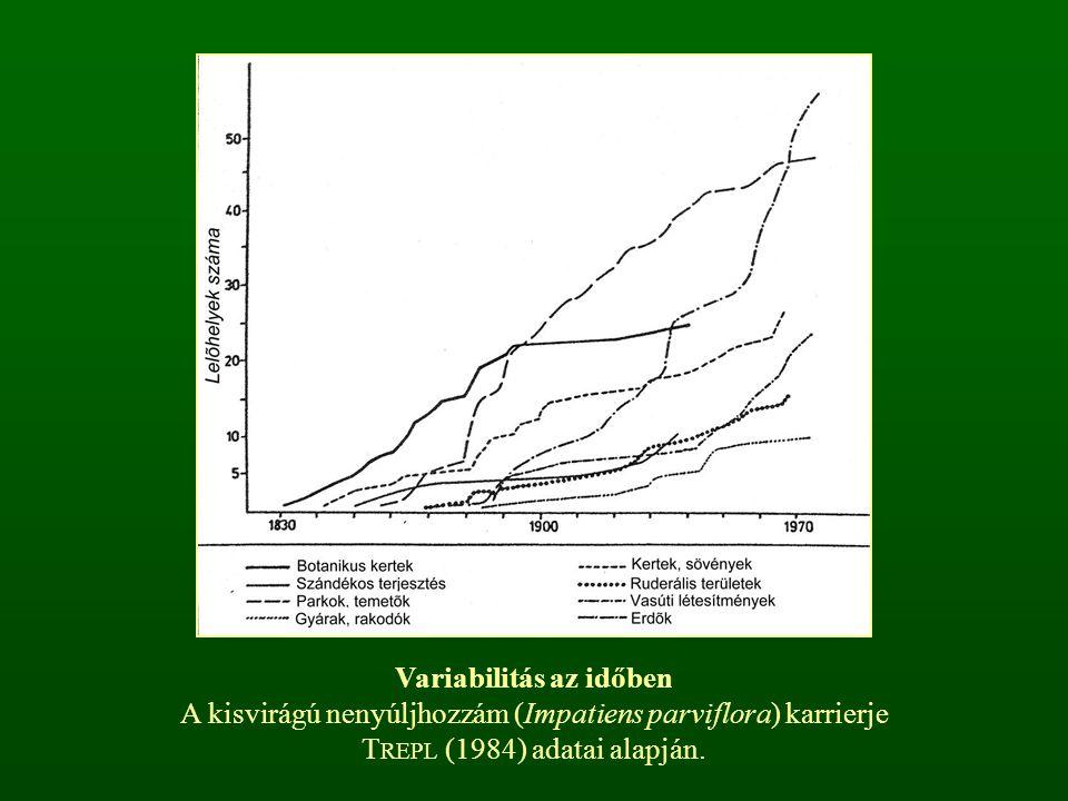 Variabilitás az időben A kisvirágú nenyúljhozzám (Impatiens parviflora) karrierje T REPL (1984) adatai alapján.
