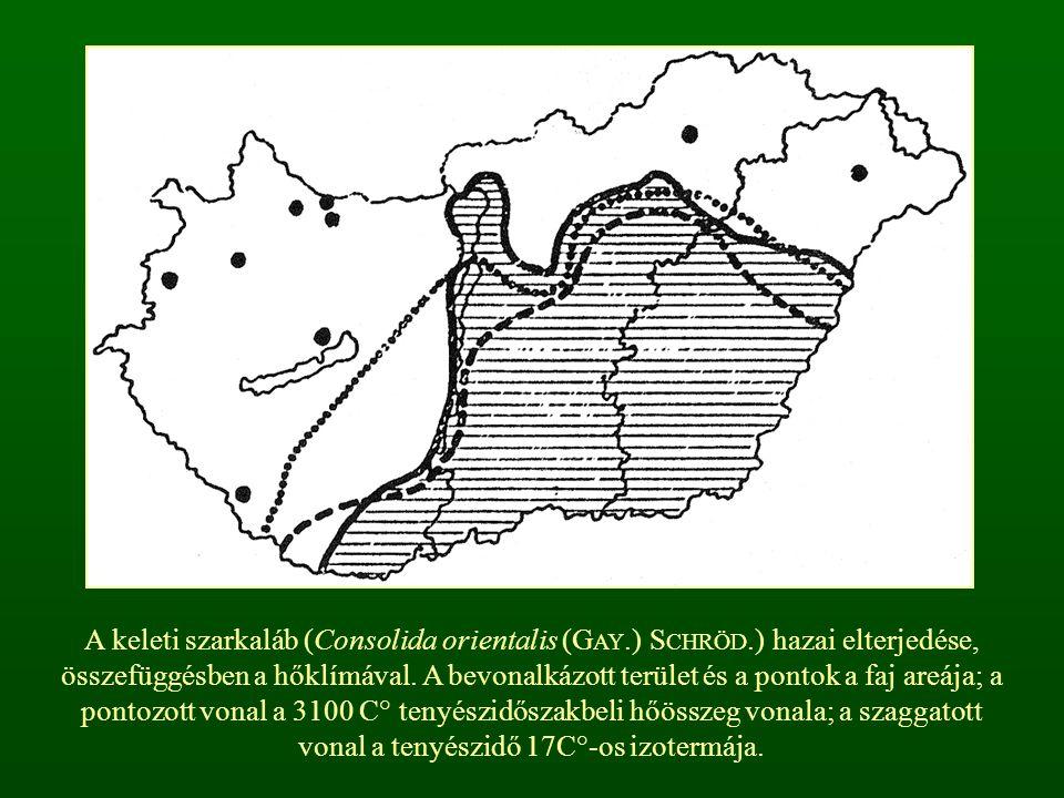 A keleti szarkaláb (Consolida orientalis (G AY.) S CHRÖD.) hazai elterjedése, összefüggésben a hőklímával. A bevonalkázott terület és a pontok a faj a