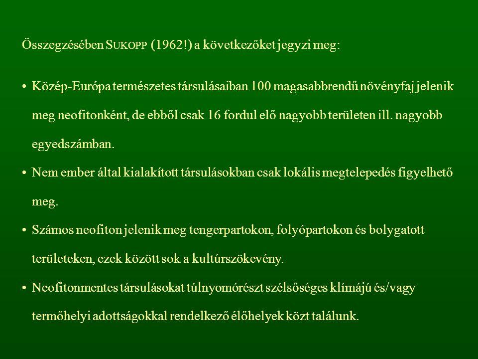 Összegzésében S UKOPP (1962!) a következőket jegyzi meg: Közép-Európa természetes társulásaiban 100 magasabbrendű növényfaj jelenik meg neofitonként,