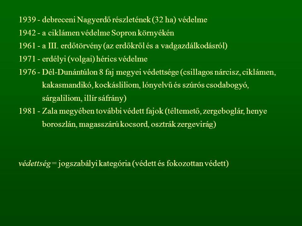 A magyarországi veszélyeztetettségi kategóriák (1989) K - kipusztult és eltűnt kipusztult = az utóbbi ötven évben - többszöri keresés ellenére - sem került elő eltűnt = az elmúlt tíz évben nem találták KV- kipusztulással közvetlenül veszélyeztetett Egyetlen, önfennmaradásra képes populációja sincs (kis egyedszám, elszigetelt populációk, erős visszaszorulás), illetve a termőhelyeken állandó, nem vagy csak nagy költséggel kivédhető veszélyforrások működnek.