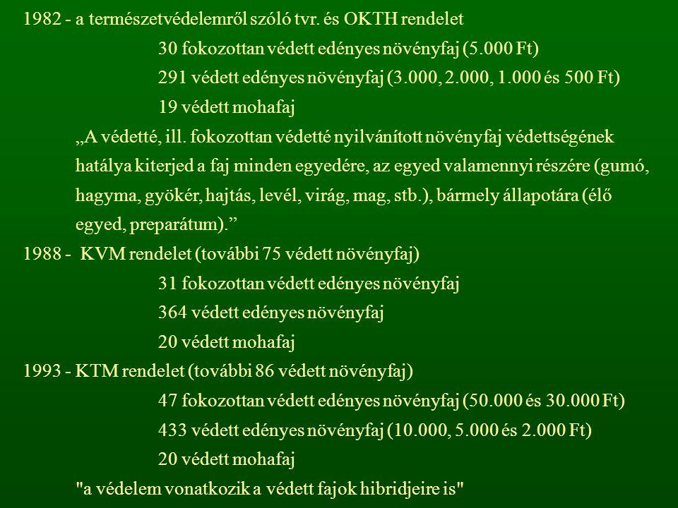1982 - a természetvédelemről szóló tvr. és OKTH rendelet 30 fokozottan védett edényes növényfaj (5.000 Ft) 291 védett edényes növényfaj (3.000, 2.000,