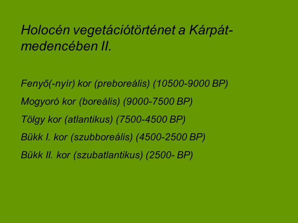 Holocén vegetációtörténet a Kárpát- medencében II. Fenyő(-nyír) kor (preboreális) (10500-9000 BP) Mogyoró kor (boreális) (9000-7500 BP) Tölgy kor (atl