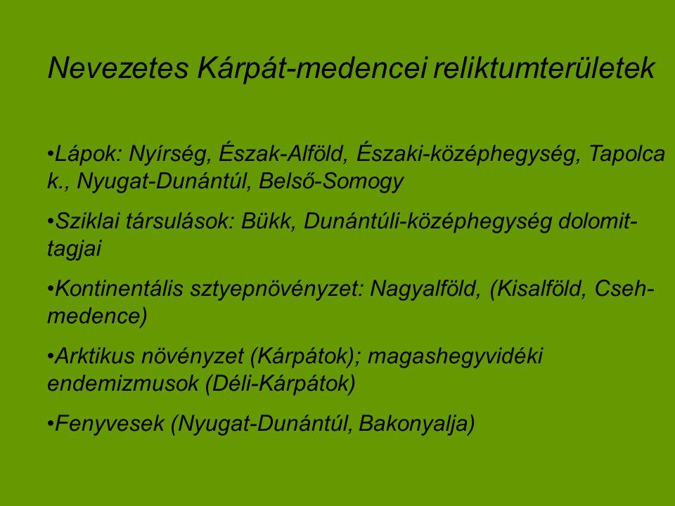 Nevezetes Kárpát-medencei reliktumterületek Lápok: Nyírség, Észak-Alföld, Északi-középhegység, Tapolca k., Nyugat-Dunántúl, Belső-Somogy Sziklai társulások: Bükk, Dunántúli-középhegység dolomit- tagjai Kontinentális sztyepnövényzet: Nagyalföld, (Kisalföld, Cseh- medence) Arktikus növényzet (Kárpátok); magashegyvidéki endemizmusok (Déli-Kárpátok) Fenyvesek (Nyugat-Dunántúl, Bakonyalja)