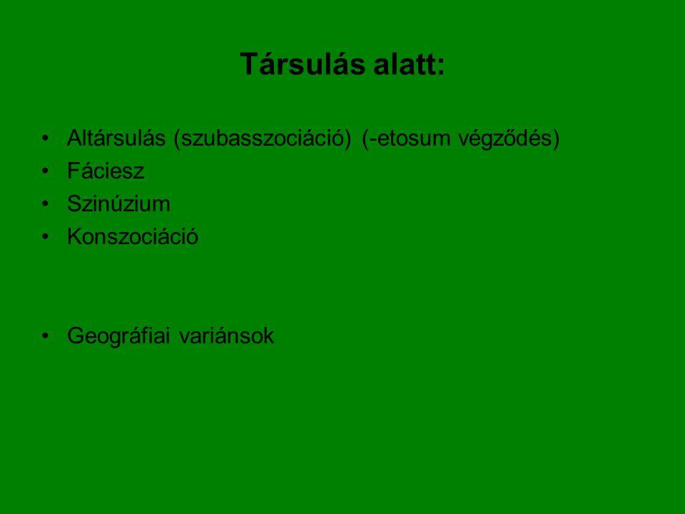 Társulás alatt: Altársulás (szubasszociáció) (-etosum végződés) Fáciesz Szinúzium Konszociáció Geográfiai variánsok