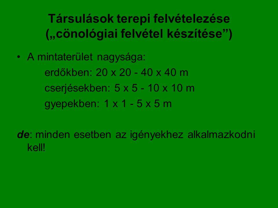 """Társulások terepi felvételezése (""""cönológiai felvétel készítése"""") A mintaterület nagysága: erdőkben: 20 x 20 - 40 x 40 m cserjésekben: 5 x 5 - 10 x 10"""