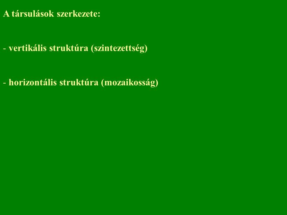 A társulások szerkezete: - vertikális struktúra (szintezettség) - horizontális struktúra (mozaikosság)
