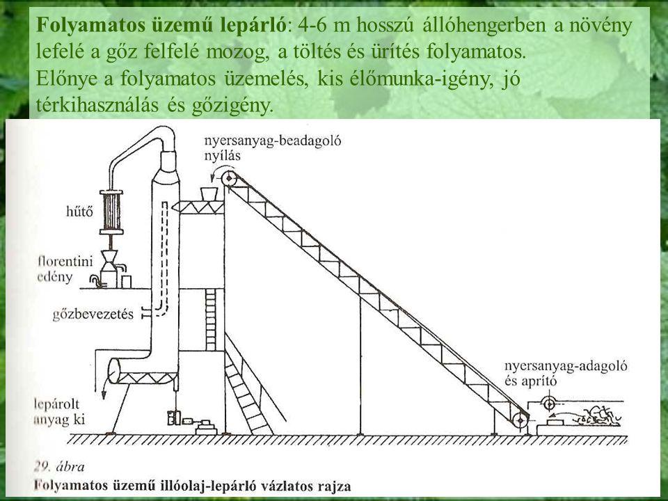 Folyamatos üzemű lepárló: 4-6 m hosszú állóhengerben a növény lefelé a gőz felfelé mozog, a töltés és ürítés folyamatos. Előnye a folyamatos üzemelés,