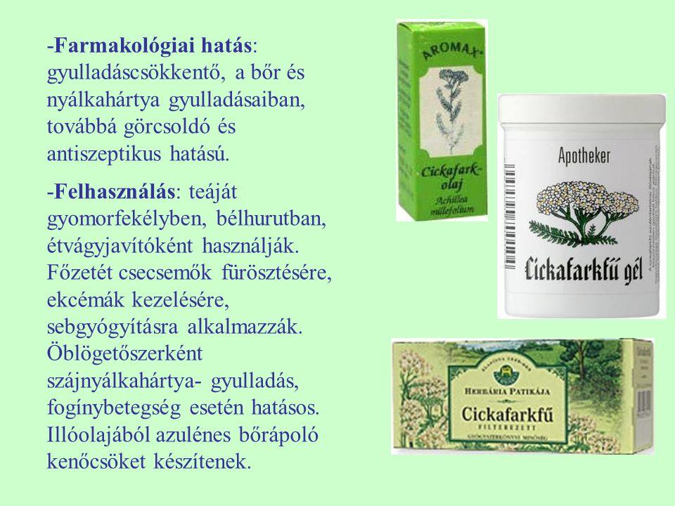 -Farmakológiai hatás: gyulladáscsökkentő, a bőr és nyálkahártya gyulladásaiban, továbbá görcsoldó és antiszeptikus hatású. -Felhasználás: teáját gyomo