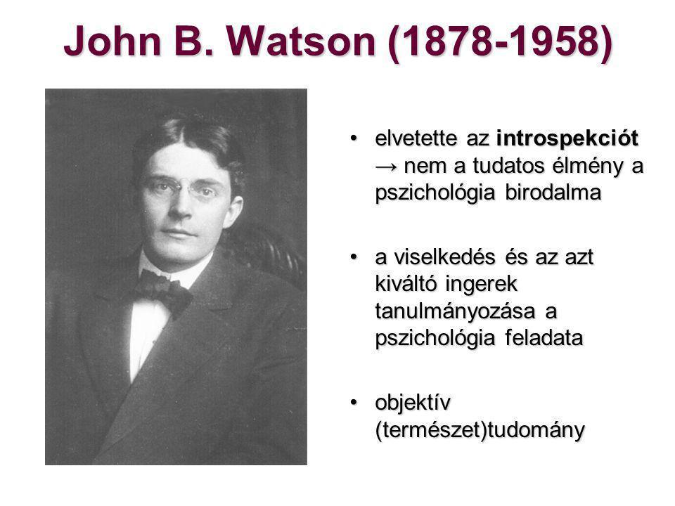 Watson munkássága 1913 – Psychology as the Behaviorist Views It1913 – Psychology as the Behaviorist Views It A kis Albert félelemkondicionálásaA kis Albert félelemkondicionálása Behaviorizmus és reklámiparBehaviorizmus és reklámipar