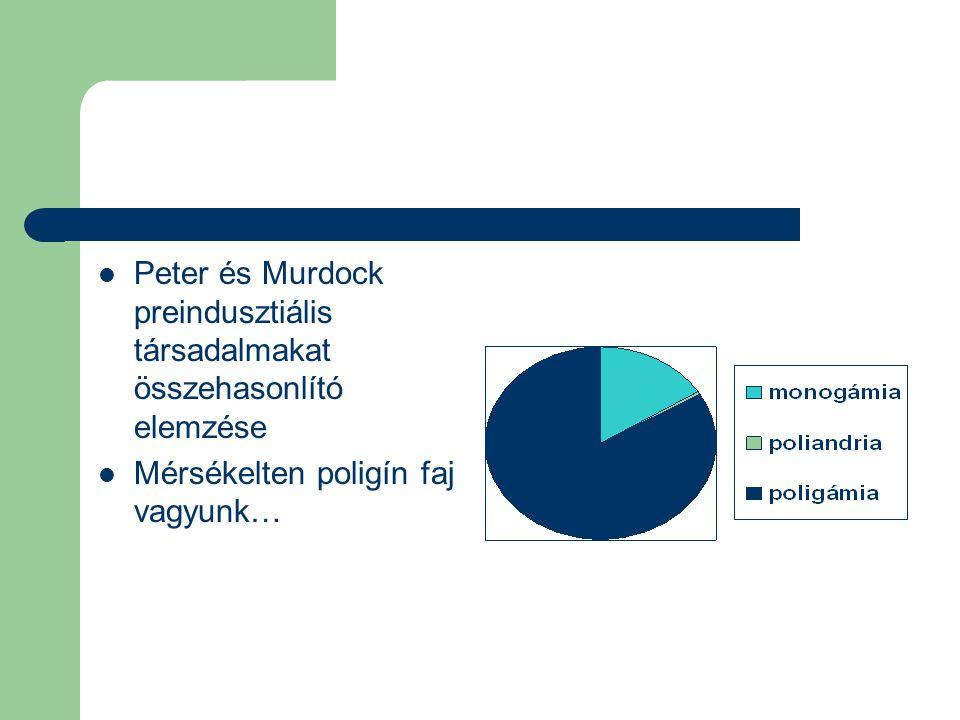 Peter és Murdock preindusztiális társadalmakat összehasonlító elemzése Mérsékelten poligín faj vagyunk…