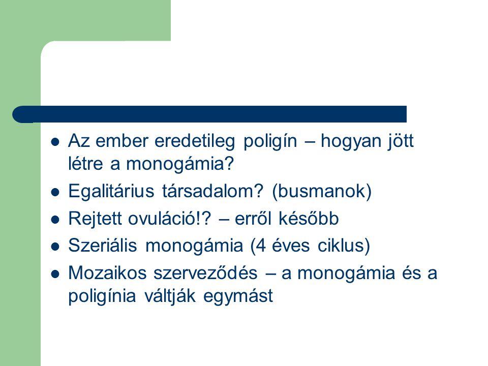 Az ember eredetileg poligín – hogyan jött létre a monogámia? Egalitárius társadalom? (busmanok) Rejtett ovuláció!? – erről később Szeriális monogámia