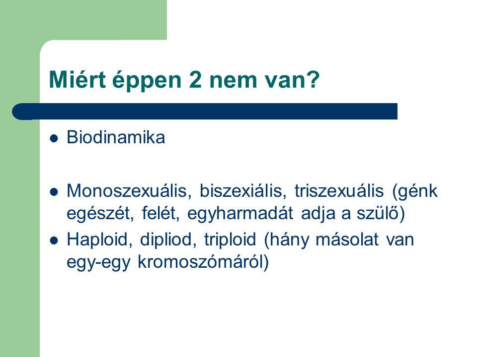 Miért éppen 2 nem van? Biodinamika Monoszexuális, biszexiális, triszexuális (génk egészét, felét, egyharmadát adja a szülő) Haploid, dipliod, triploid