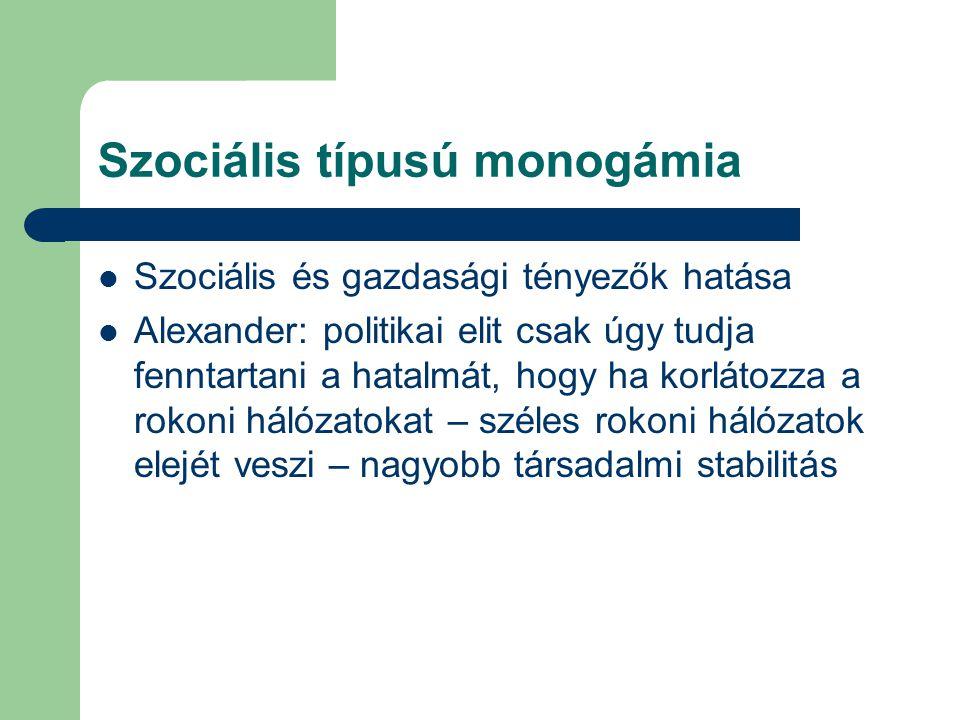 Szociális típusú monogámia Szociális és gazdasági tényezők hatása Alexander: politikai elit csak úgy tudja fenntartani a hatalmát, hogy ha korlátozza