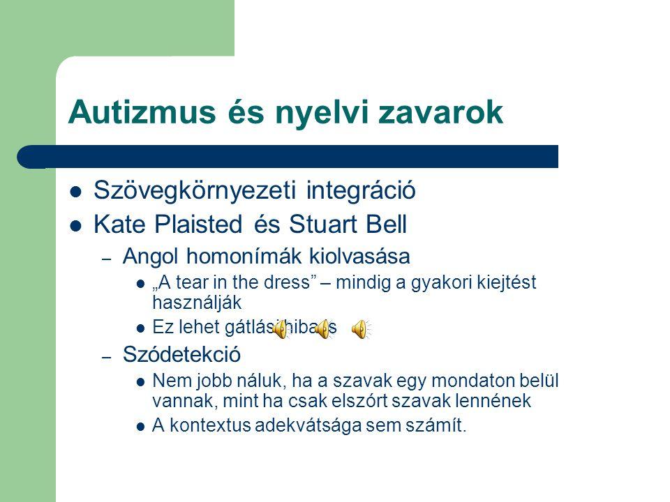 """Autizmus és nyelvi zavarok Szövegkörnyezeti integráció Kate Plaisted és Stuart Bell – Angol homonímák kiolvasása """"A tear in the dress"""" – mindig a gyak"""