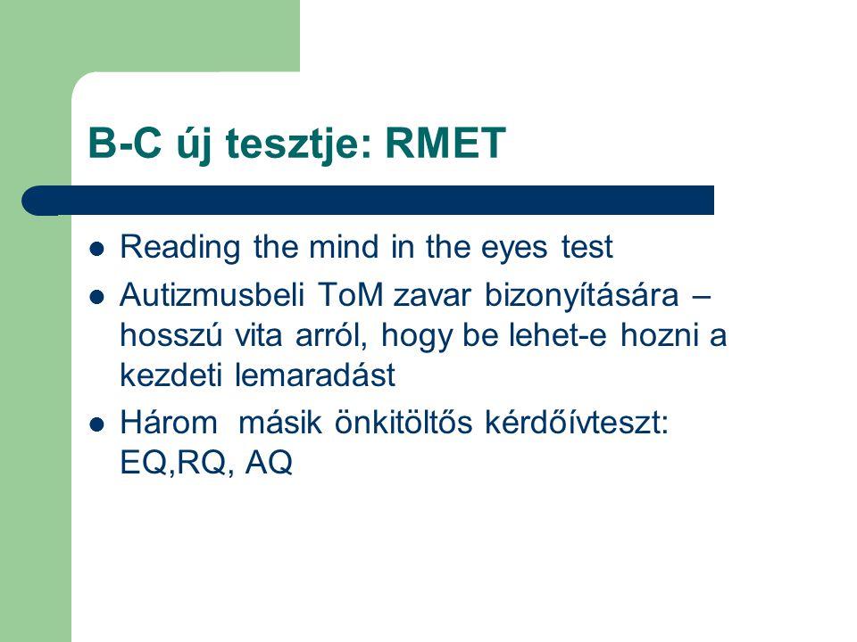 B-C új tesztje: RMET Reading the mind in the eyes test Autizmusbeli ToM zavar bizonyítására – hosszú vita arról, hogy be lehet-e hozni a kezdeti lemar