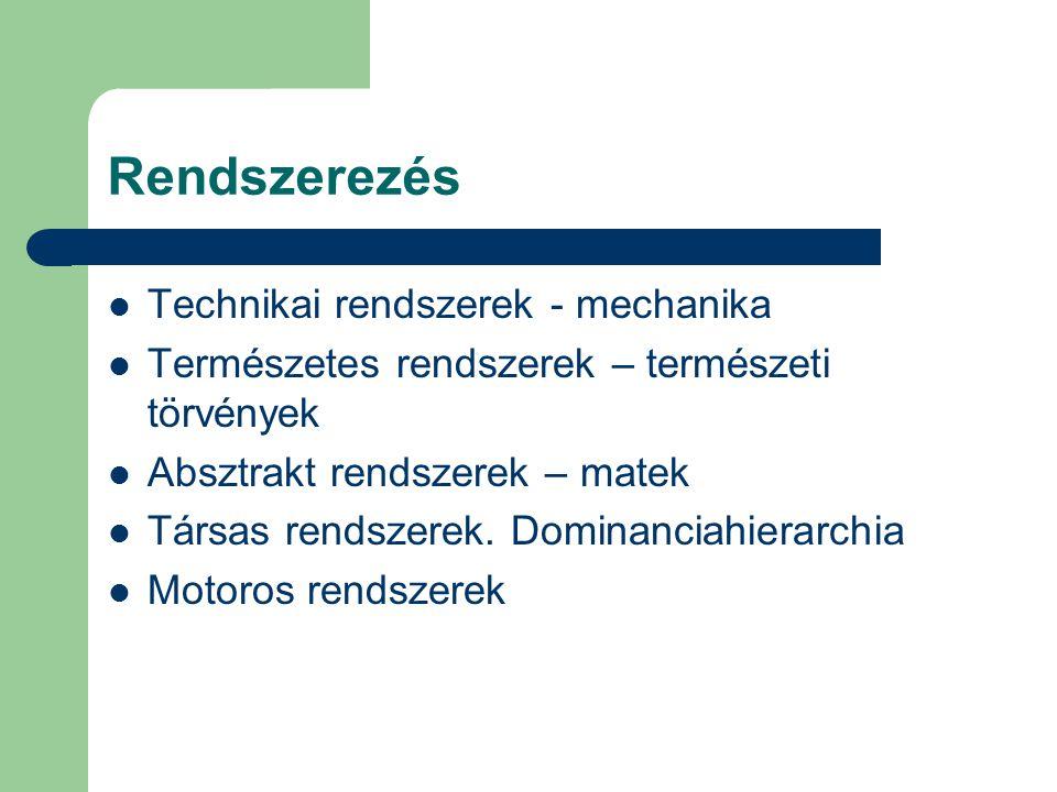 Rendszerezés Technikai rendszerek - mechanika Természetes rendszerek – természeti törvények Absztrakt rendszerek – matek Társas rendszerek. Dominancia