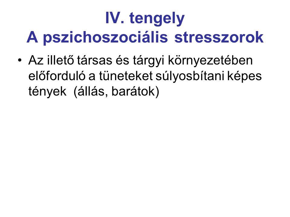 IV. tengely A pszichoszociális stresszorok Az illető társas és tárgyi környezetében előforduló a tüneteket súlyosbítani képes tények (állás, barátok)