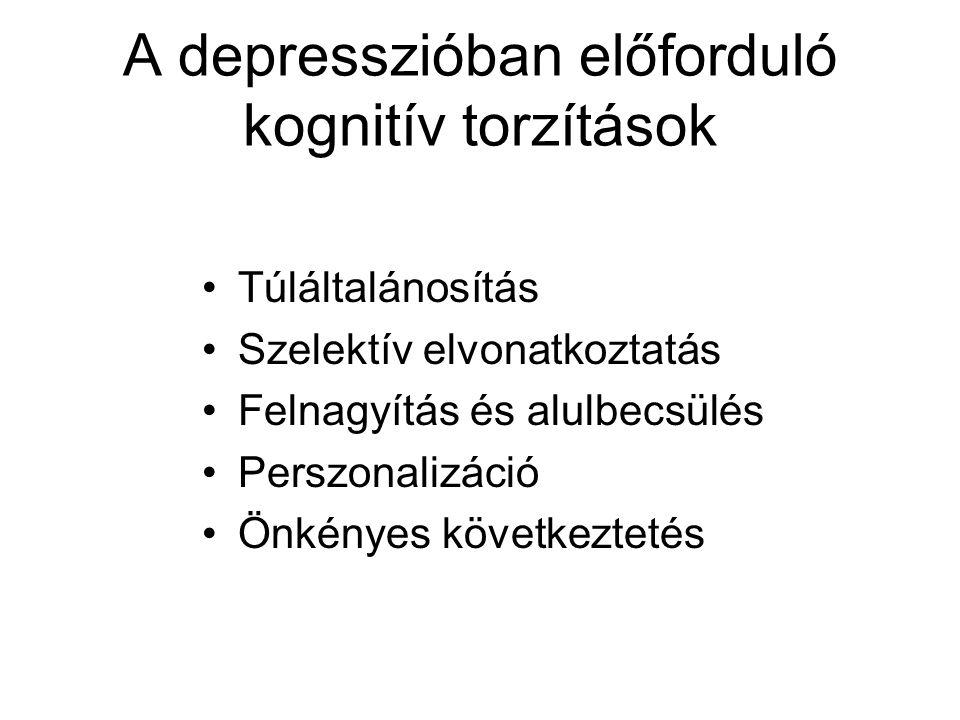A depresszióban előforduló kognitív torzítások Túláltalánosítás Szelektív elvonatkoztatás Felnagyítás és alulbecsülés Perszonalizáció Önkényes következtetés