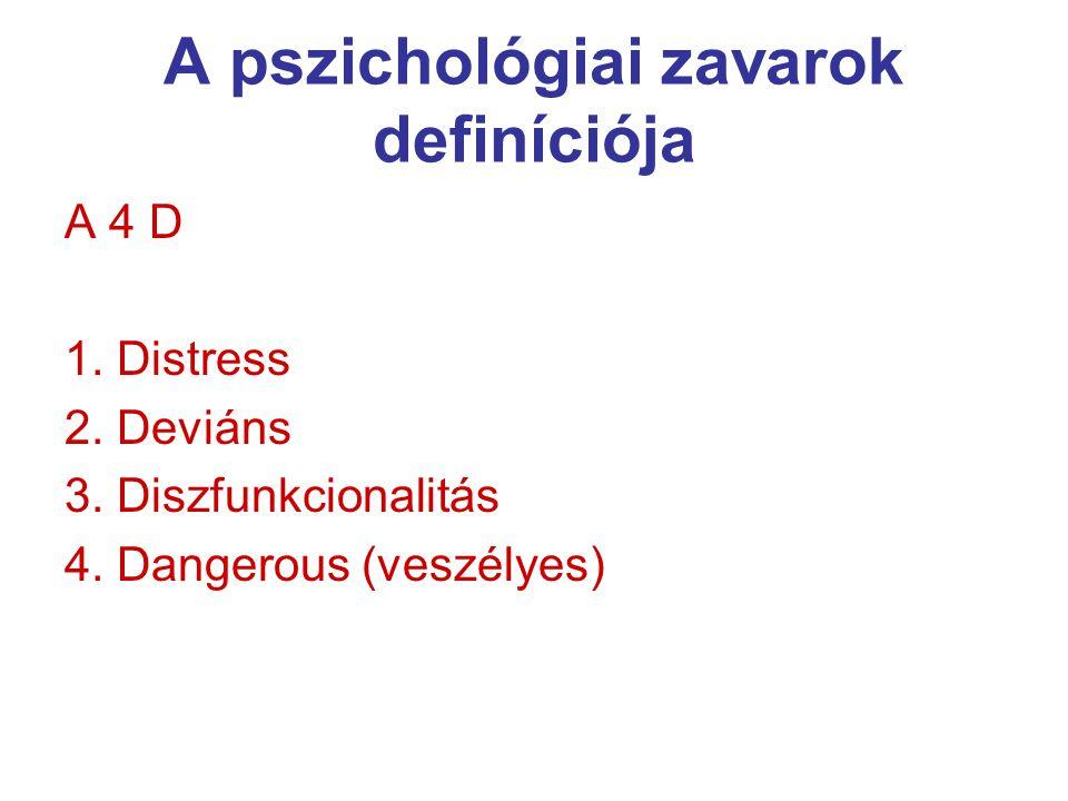 A pszichológiai zavarok definíciója A 4 D 1.Distress 2.