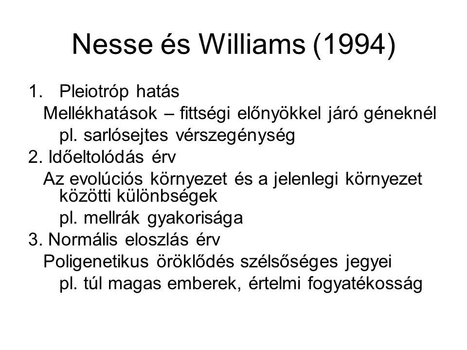 Nesse és Williams (1994) 1.Pleiotróp hatás Mellékhatások – fittségi előnyökkel járó géneknél pl.