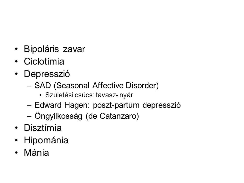 Bipoláris zavar Ciclotímia Depresszió –SAD (Seasonal Affective Disorder) Születési csúcs: tavasz- nyár –Edward Hagen: poszt-partum depresszió –Öngyilkosság (de Catanzaro) Disztímia Hipománia Mánia