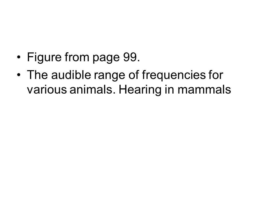 Figure from page 99. The audible range of frequencies for various animals. Hearing in mammals