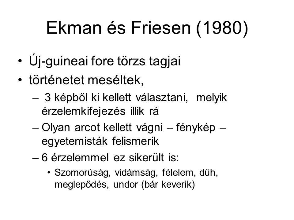 Ekman és Friesen (1980) Új-guineai fore törzs tagjai történetet meséltek, – 3 képből ki kellett választani, melyik érzelemkifejezés illik rá –Olyan arcot kellett vágni – fénykép – egyetemisták felismerik –6 érzelemmel ez sikerült is: Szomorúság, vidámság, félelem, düh, meglepődés, undor (bár keverik)